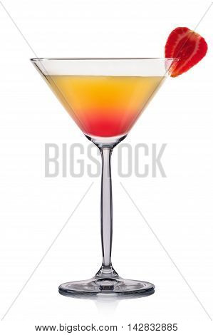 Yellow martini cocktail with strawberry isolated on white background.