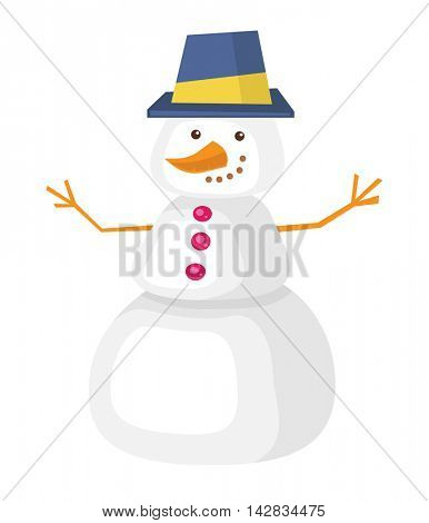 Funny snowman with a carrot instead of a nose and branches instead of hands. Snowman in hat vector flat design illustration isolated on white background.
