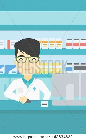 An asian young pharmacist in medical gown standing at pharmacy counter and working on a computer. Male pharmacist in the drugstore. Vector flat design illustration. Vertical layout.