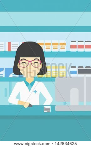 An asian young female pharmacist in medical gown standing at pharmacy counter and working on a computer. Female pharmacist in the drugstore. Vector flat design illustration. Vertical layout.