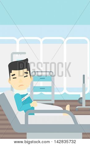 An asian man suffering from neck pain. Man with injured neck lying in bed in hospital ward. Man with neck brace. Vector flat design illustration. Vertical layout.