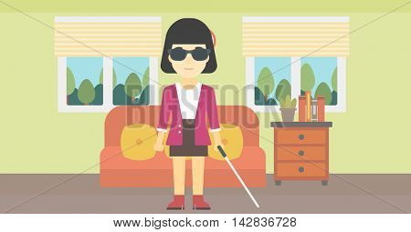 An asian blind woman standing with walking stick. Young woman in dark glasses with cane standing in the living room. Vector flat design illustration. Horizontal layout.