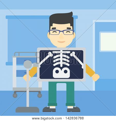 An asian patient during chest x ray procedure in examination room. Young man with x ray screen showing his skeleton at doctor office. Vector flat design illustration. Square layout.