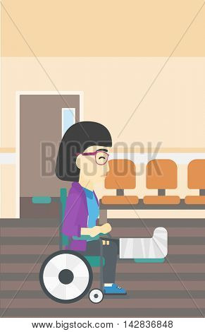 An asian injured woman with leg in plaster. Young woman with broken leg sitting in wheelchair. Woman with fractured leg in the hospital corridor. Vector flat design illustration. Vertical layout.