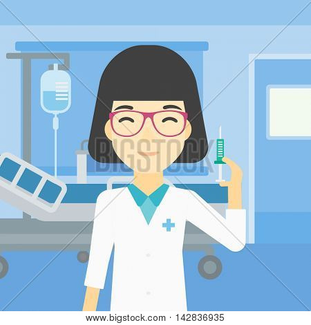 An asian female doctor holding medical injection syringe. Doctor with syringe in hospital ward. Doctor holding a syringe ready for injection. Vector flat design illustration. Square layout.