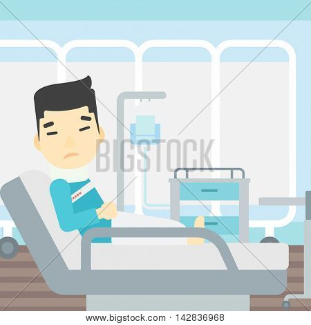 An asian man suffering from neck pain. Man with injured neck lying in bed in hospital ward. Man with neck brace. Vector flat design illustration. Square layout.