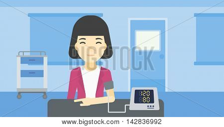 Asian woman checking blood pressure with digital blood pressure meter. Woman taking care of her health and measuring blood pressure in hospital room. Vector flat design illustration. Horizontal layout