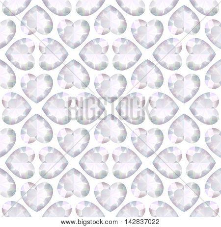 Vector light seamless background with diamonds heart shape