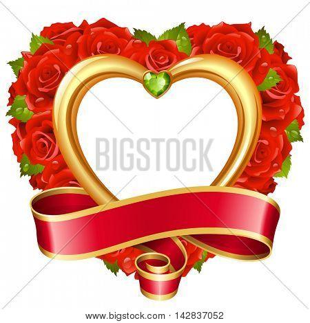 Vector rose frame in the shape of heart. Red flowers, ribbon, golden border and green diamond