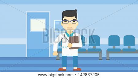 An asian friendly doctor holding a file in hospital corridor. Smiling doctor with stetoscope carrying folder of patient or medical information. Vector flat design illustration. Horizontal layout.