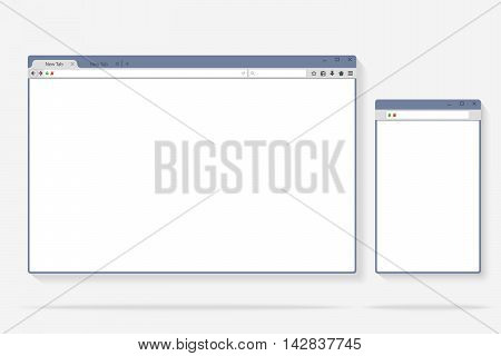 Flat internet browser windows with copy space for your text. Idea - Mobile internet, Cloud computing, HTML Programming. Vector illustration