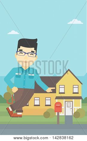 An asian young male real estate agent standing near the house. Real estate agent leaning on the house. Real estate agent offering house. Vector flat design illustration. Vertical layout.