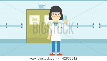 An asian female doctor in medical gown showing ok sign. Smiling doctor gesturing ok sign. Doctor with ok sign gesture in the hospital corridor. Vector flat design illustration. Horizontal layout.
