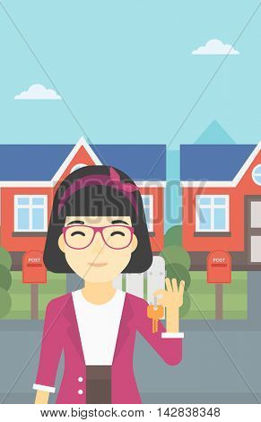 An asian young female real estate agent holding key. Woman with keys standing in front of the house. Happy new owner of a house. Vector flat design illustration. Vertical layout.