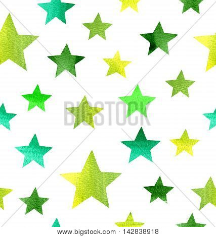 Star background. Watercolor seamless grunge pattern. Seamless pattern with watercolor stars which can be used as wallpaper