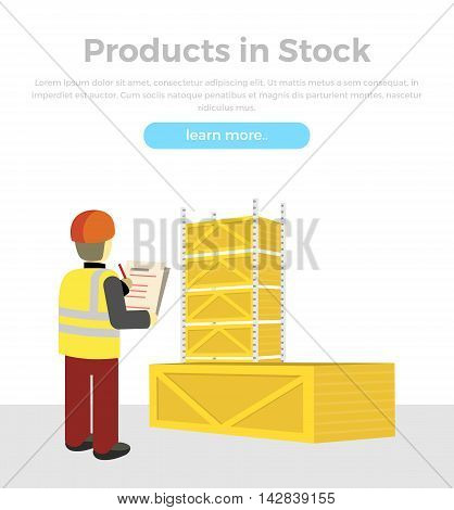 Products in stock. Delivery of goods banner. Packing product design in flat style. Package service, transportation parcel, deliver container, receive pack, send and logistics. Man checks boxes. Vector