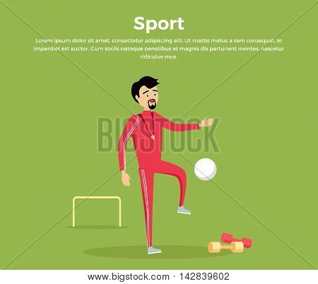 Sport concept vector. Flat design. Man in sportswear playing with ball in football field. Teacher of physical education. School coach. Illustration for sports section, club, team web page design.