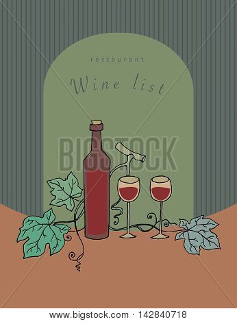 Abstract Wine list design with text Wine List, vector illustration