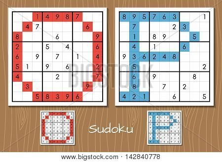 Sudoku vector set with answers. O, P letters