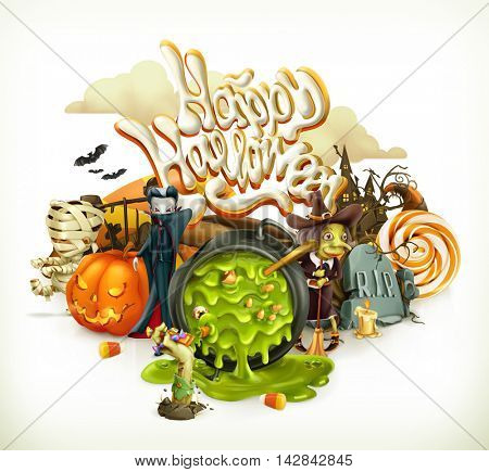 Halloween 3d vector invitation. Pumpkin, witch, vampire, candy corn. Set of cartoon characters and objects, greetings text Happy Halloween for flyers and posters