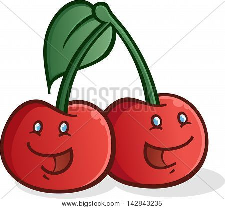Plump red smiling cartoon cherry cartoon characters