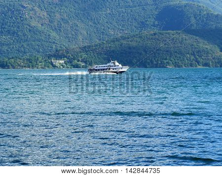 Hydrofoil On Italian Lake At High Speed