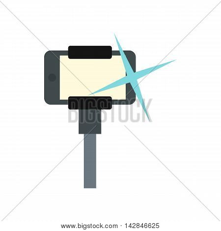 Selfie monopod stick icon in flat style on a white background
