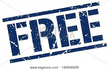 free stamp. blue grunge square isolated sign