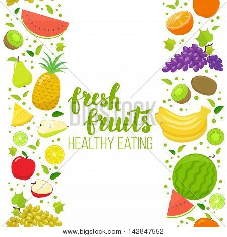 Seamless vertical borders of colorful cartoon fruits on a white background. Vector stock illustration.