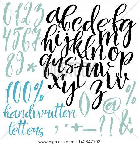 Modern calligraphy roman alphabetical set. Lowercase letters numbers and special symbols.