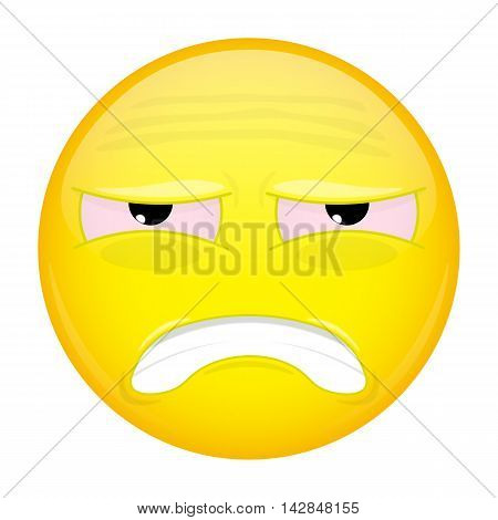Tired emoji. Hurt emotion. Sick emoticon. Illustration smile icon.