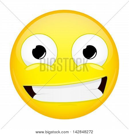 Smiling emoji. Smirk emotion. Grin emoticon. Illustration smile icon.
