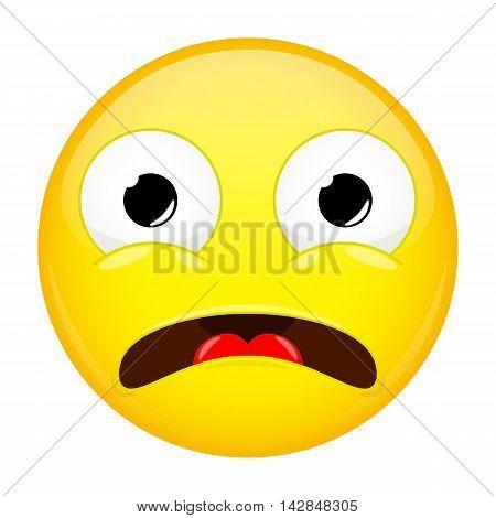 Shocked emoji. Fear emotion. Horror emoticon. Iillustration smile icon.