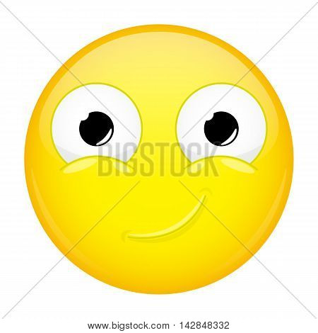 Smiling emoji. Smirk emotion. Happy emoticon. Illustration smile icon.