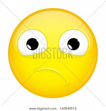 Unpleasantly surprised emoji. Sorrow emotion. Hurt emoticon. Illustration smile icon. poster