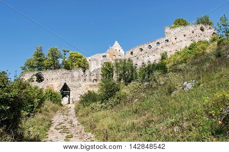 Access road to the ruin castle of Topolcany Slovak republic central Europe. Architectural theme. Beautiful place. Travel destination.