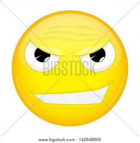 Evil emoji. Bad emotion. Wicked emoticon. Illustration smile icon.