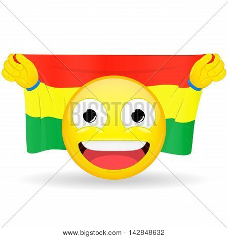 Emoji fan holds in hands flag behind his head. Bolivian flag. Fan cares for his country. Glory spectator bawl emotion. Exult emoticon. Buff of sports games smile illustration.