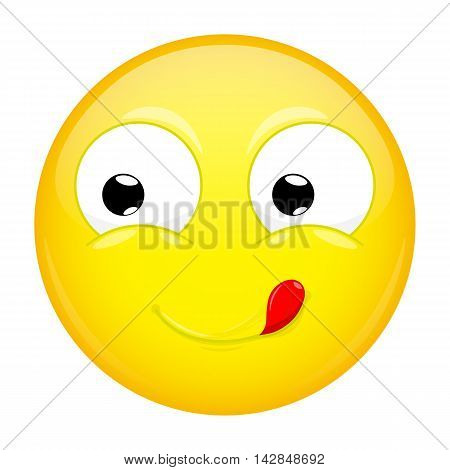 Lick lips emoji. Good emotion. Yummy emoticon. Illustration smile icon.