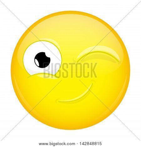 Wink emoji. Good emotion. Twinkle emoticon.Illustration smile icon.