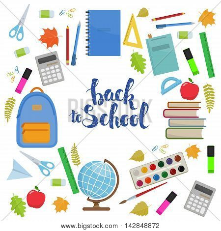Set of colorful items for education. Circle shape template back to school lettering. Vector stock illustration.