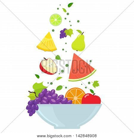 Bowl with colorful fruits isolated on white background. Vector stock illustration.