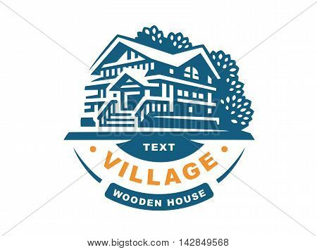 Logo wooden house on a white background