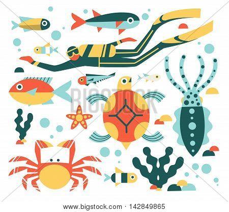 Set of illustrations on the marine theme, flat design style