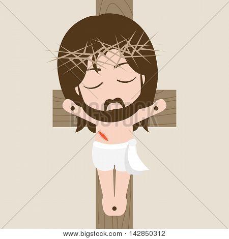 Vector messiah on the cross, flat design