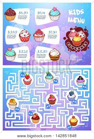 Kids menu with cupcakes and maze game. Vector template tri-fold menu in blue colors.