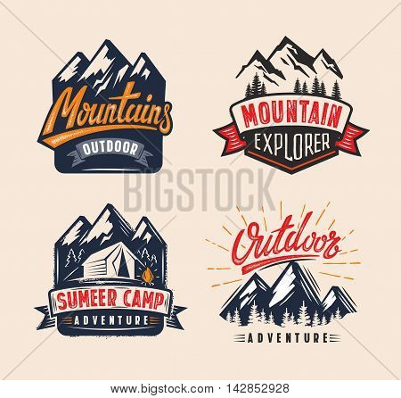 vector Adventure vintage logo on mountain badge
