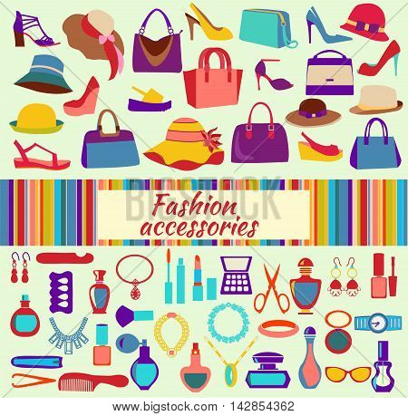 Fashion and beauty women accessories icons - Illustration. Fashion shopping background with women shoes bags and accessories vector illustration