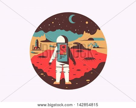 Man in space on unknown planet. Cosmonaut travel in galaxy, vector illustration