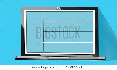 Laptop notebook or ultrabook with thin body Isolated on Blue Background with Blue screen. Black edges